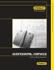 Stanley Architectural Hardware Catalog - General Hinge Information