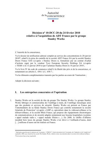 Décision n° 10-DCC-20 du 24 février 2010 relative à l'acquisition de ...