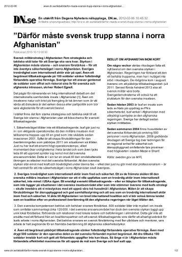 Därför måste svensk trupp stanna i norra Afghanistan