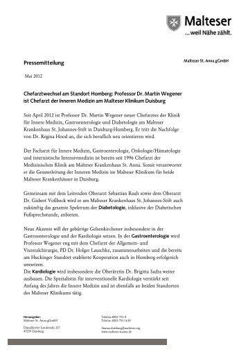 zur Pressemitteilung von Mai 2012 - Malteser Krankenhaus St. Anna
