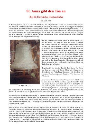 St. Anna gibt den Ton an - Geschichtsverein Eberstadt - Frankenstein