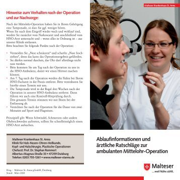 ambulanten Mittelohr-Operation - Malteser Krankenhaus St. Anna