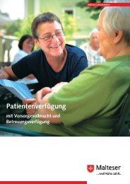 Malteser Broschüre zur Patientenverfügung mit Vordruck