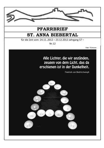 PFARRBRIEF ST. ANNA BIEBERTAL