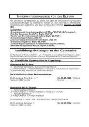 a) Staatliche Gymnasien in Augsburg