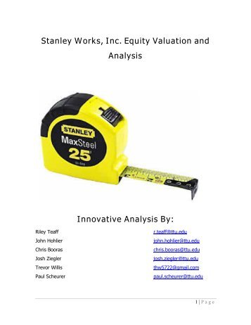 Stanley Works, Inc. Equity Valuation and Analysis ... - Mark E. Moore