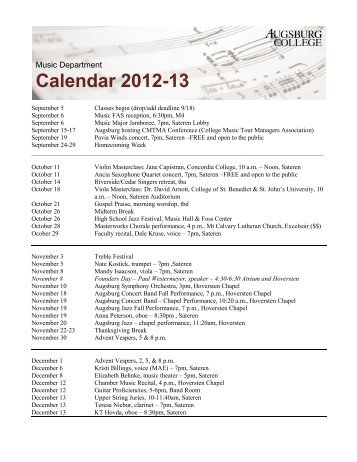 Music Department Calendar 2012-13 - Augsburg College