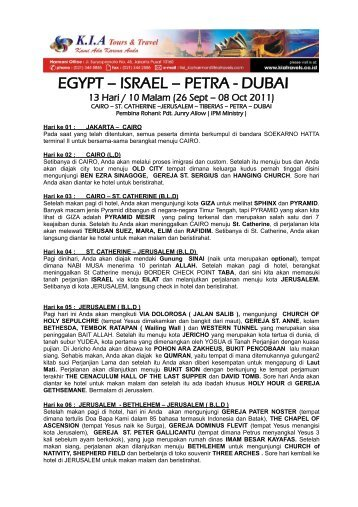 egypt – israel – petra - dubai - KIA Tours & Travel