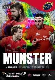 Munster Rugby v Connacht Rugby Match Programme