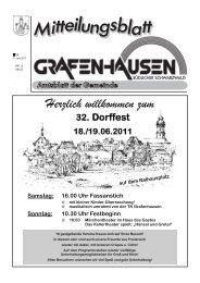 Samstag: 16.00 Uhr Fassanstich - Gemeinde Grafenhausen