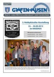 3. Hobbykünstler-Ausstellung 22. – 30.09.2012 im HAGEHUS