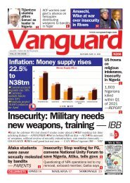 17052021 - Insecurity: Military needs new weapons, training — IBB