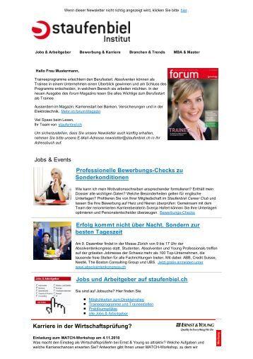 beispiel fr einen karriere newsletter vom career staufenbielch - Lebenslauf Staufenbiel