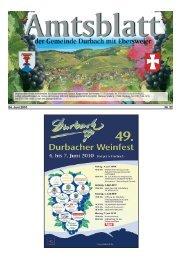 Tourist-Information/Verkehrsverein Durbach in der Zeit vom 04. bis ...