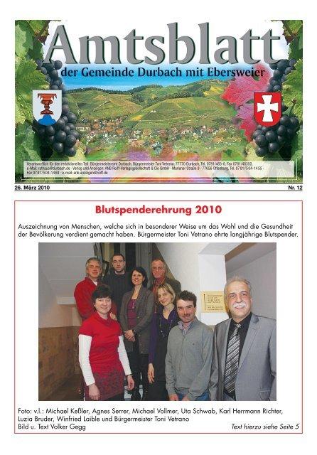 Blutspenderehrung 2010 - Durbach