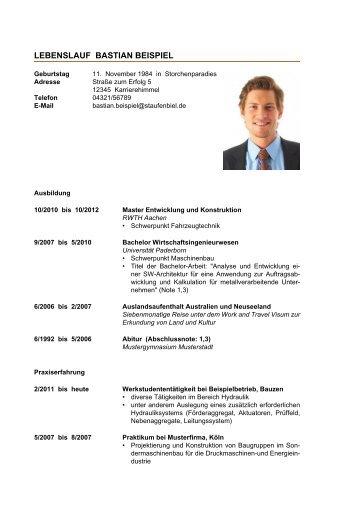 Lebenslauf Vorlage (PDF)   Staufenbiel.de