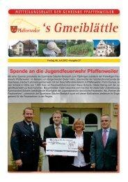 Spende an die Jugendfeuerwehr Pfaffenweiler - Suedlicht GmbH
