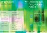 Organisation Einladung zum Energie-Apéro Aargau - Baden