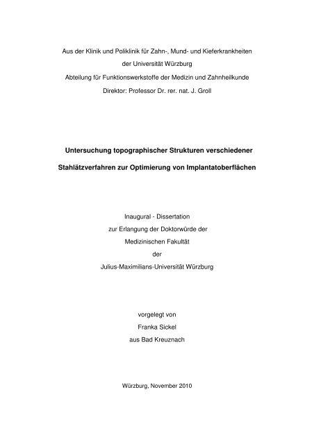 Untersuchung topographischer Strukturen verschiedener - OPUS ...