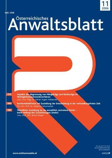 Anwaltsblatt 2006/11 - Österreichischer Rechtsanwaltskammertag