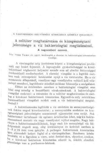 Értesítő az Erdélyi Múzeum-Egyesület Orvostudományi ... - EPA