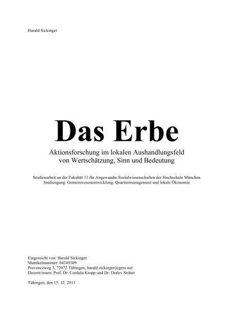 Aktions-Forschungs-Arbeit DAS ERBE