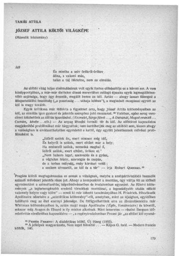 József Attila költői világképe. (Második közl.) - EPA