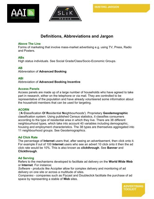Definitions Abbreviations And Jargon