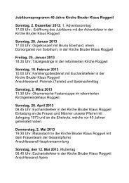 Jubiläumsprogramm 40 Jahre Kirche Bruder Klaus Roggwil ...