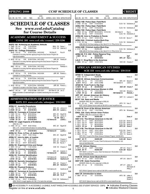 SCHEDULE OF CLASSES - City College of San Francisco