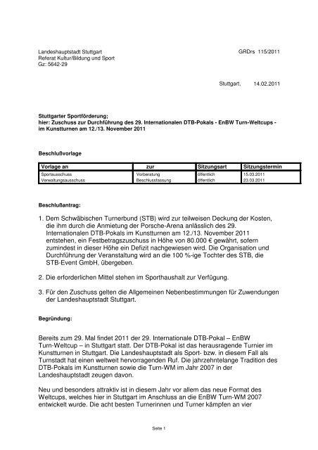 1. Dem Schwäbischen Turnerbund (STB) - Landeshauptstadt Stuttgart