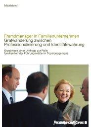 Fremdmanager in Familienunternehmen Gratwanderung zwischen ...