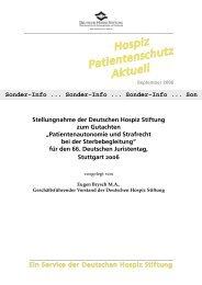 Stellungnahme der Deutschen Hospiz Stiftung zum Gutachten
