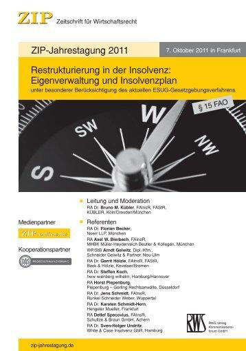 ZIP Jahrestagung 2011 - Schneider, Geiwitz & Partner