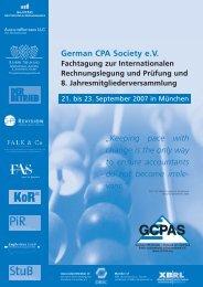German CPA Society eV Fachtagung zur Internationalen ...