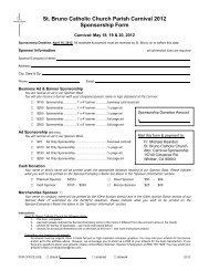 St. Bruno Catholic Church Parish Carnival 2012 Sponsorship Form
