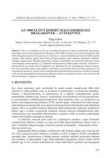 teljes cikk (pdf) - Magyar Természettudományi Múzeum