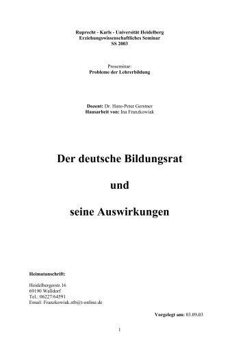 Der deutsche Bildungsrat und seine Auswirkungen - Universität ...
