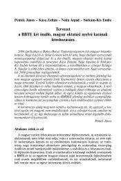 Tervezet a BBTE két önálló, magyar oktatási nyelvű karának ...