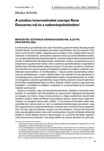 A sztoikus ismeretelmélet szerepe René Descartes-nál - EPA