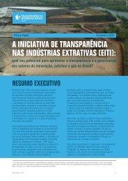 A EITI: qual seu potencial para aprimorar a transparência e a governança dos setores da mineração, petróleo e gás no Brasil?