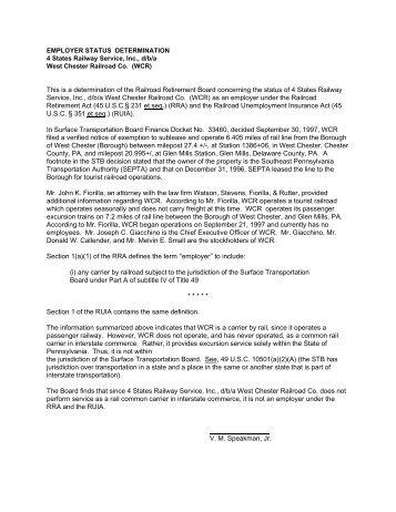 4 States Railway Service, Inc - U.S. Railroad Retirement Board