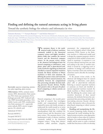 Finding and defining the natural automata acting in living plants - LINV