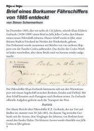 Brief eines Borkumer Fährschiffers von 1885 entdeckt von Simon Schermerhorn