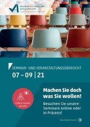 Seminar- und Veranstaltungsübersicht 03 I 2021