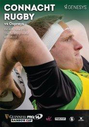 Connacht v Ospreys PRO14 Rainbow Cup Digital Match Programme