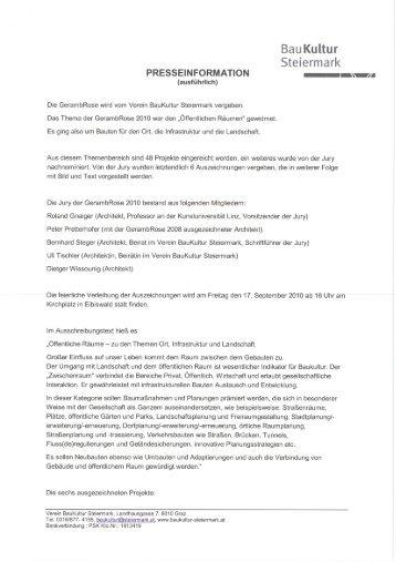 Presseinformation - Landentwicklung - Steiermark
