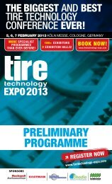 PRELIMINARY PROGRAMME - Tire Technology Expo 2013