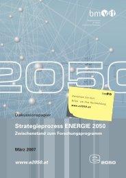 Strategieprozess ENERGIE 2050 - Energiesysteme der Zukunft