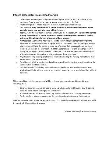 St Mary Redcliffe ChurchInterim Protocol for LIvestream Public Worship